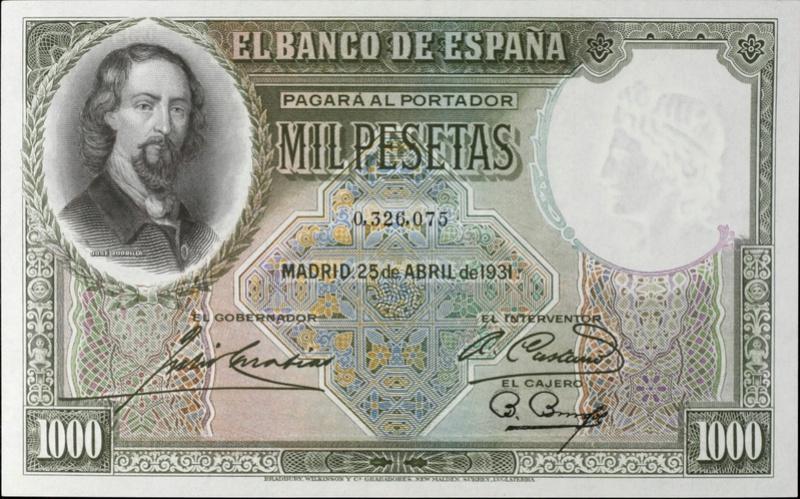 Estadísticas e Historia - 1000 Pesetas 1931 (Zorrilla) 03260710