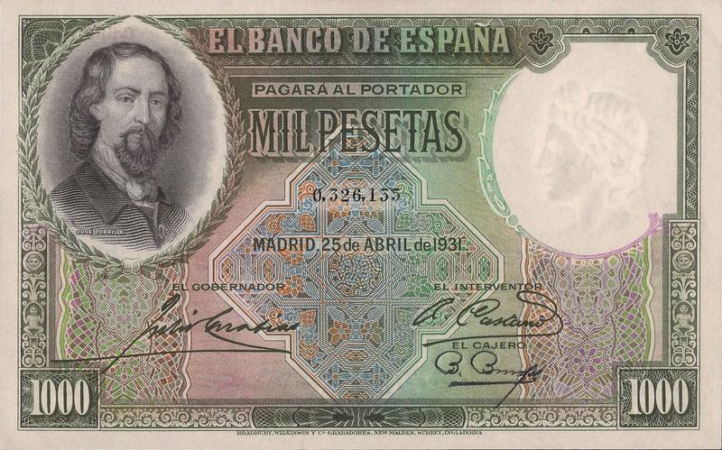 Estadísticas e Historia - 1000 Pesetas 1931 (Zorrilla) 03261310