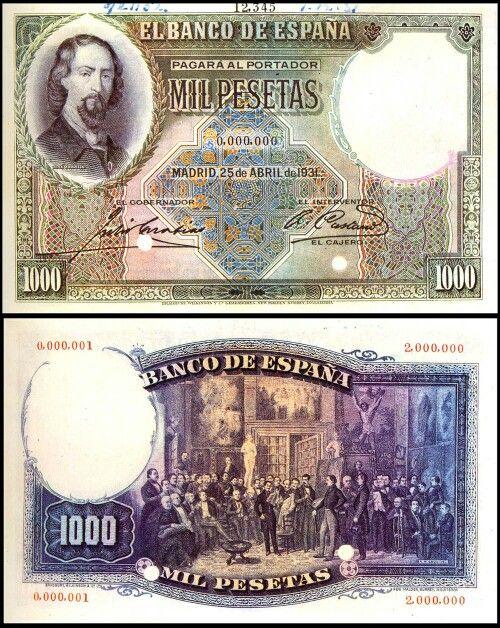 Estadísticas e Historia - 1000 Pesetas 1931 (Zorrilla) Billet10
