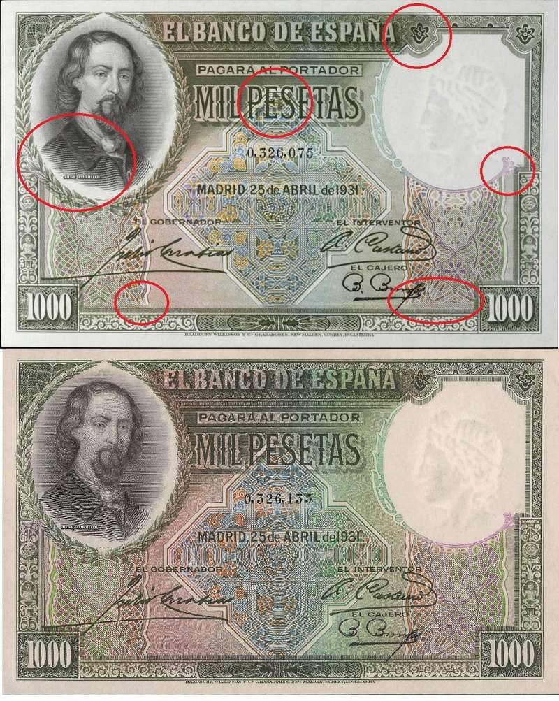 Estadísticas e Historia - 1000 Pesetas 1931 (Zorrilla) Compar10