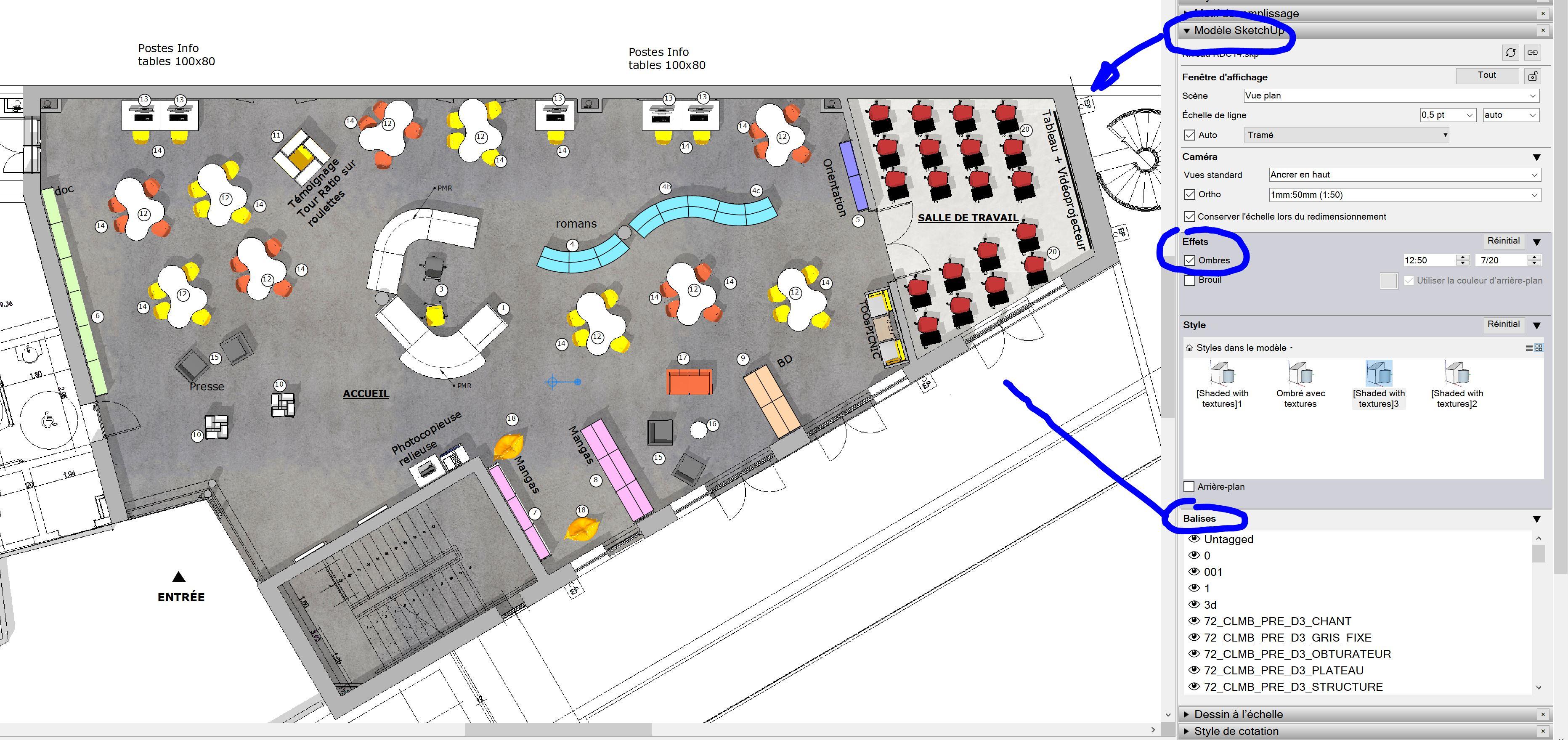 [ SKETCHUP généralité ] Comment retrouver les calques ou balises d'un modèles skp dans layout ? Captu211