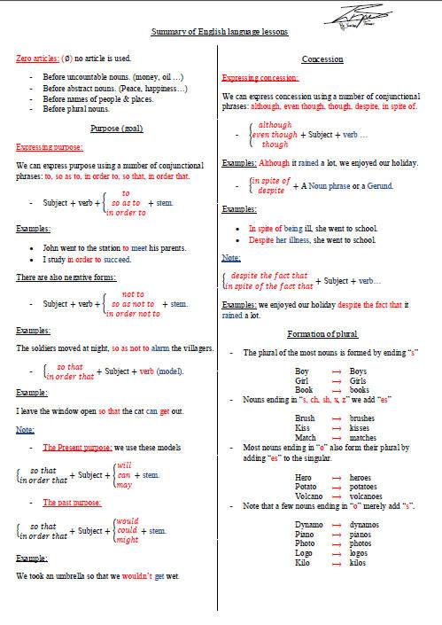 ملخص دروس اللغة الإنجليزية للسنة الثالثة ثانوي Bandi141