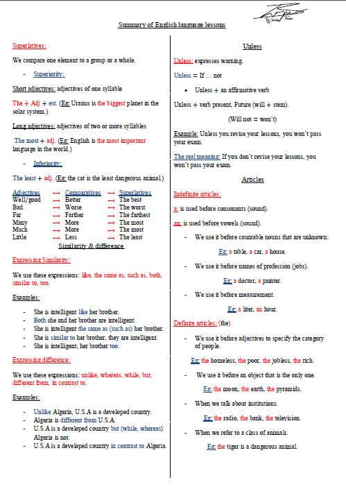 ملخص دروس اللغة الإنجليزية للسنة الثالثة ثانوي Bandi145