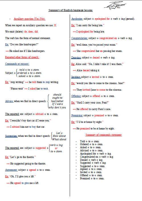 ملخص دروس اللغة الإنجليزية للسنة الثالثة ثانوي Bandi147