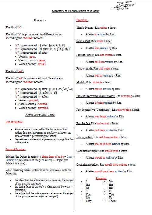 ملخص دروس اللغة الإنجليزية للسنة الثالثة ثانوي Bandi148