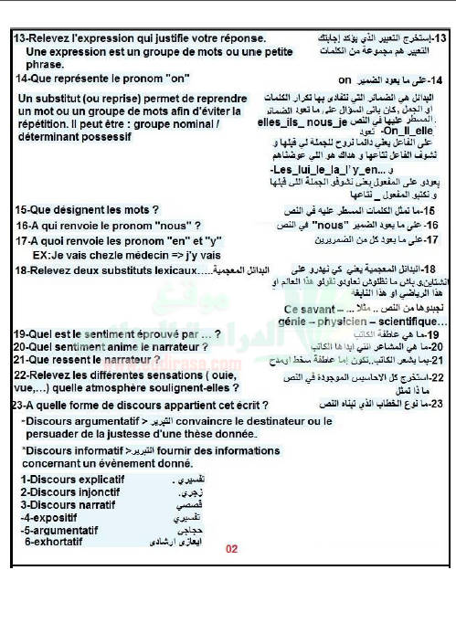 أسئلة بكالوريا اللغة الفرنسية و أجوبتها باللغة العربية Bandi150