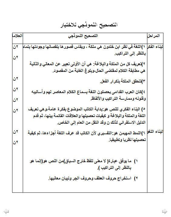 إختبار لغة عربية للفصل الأول 3 ثانوي آداب و فلسفة 4 مع الحل Bandi280