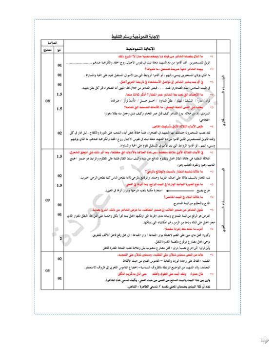 إختبار لغة عربية للفصل الأول 3 ثانوي آداب و فلسفة 7 مع الحل Bandi299