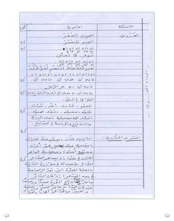 إختبار لغة عربية للفصل الثاني 3 ثانوي آداب و فلسفة 1 مع الحل Bandi331