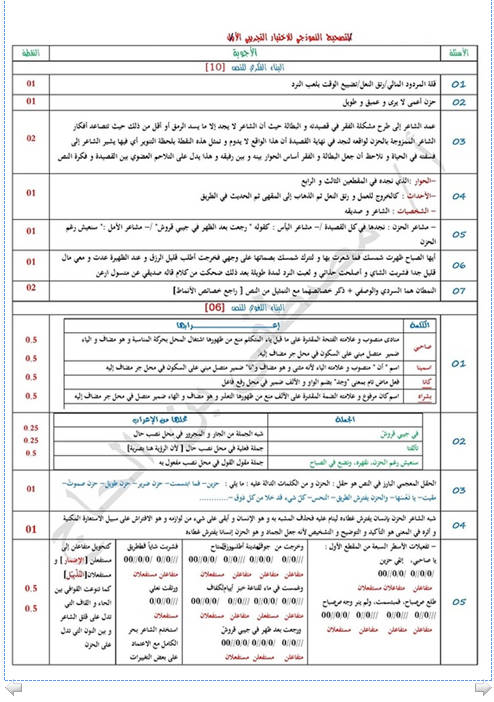 إختبار لغة عربية للثلاثي الثالث 3 ثانوي لغات أجنبية 5 مع الحل Bandi464