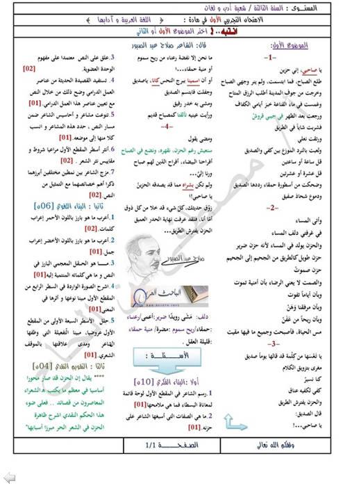 إختبار لغة عربية للثلاثي الثالث 3 ثانوي لغات أجنبية 5 مع الحل Bandi465