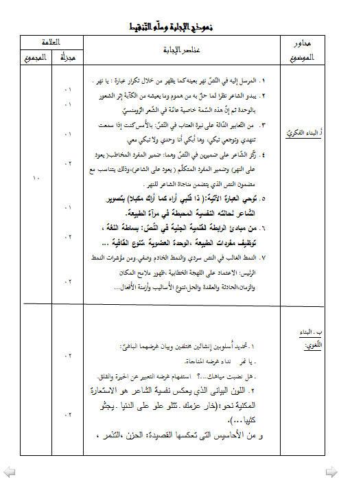 إختبار لغة عربية للفصل الأول 3 ثانوي شعب علمية 2 مع الحل Bandi474