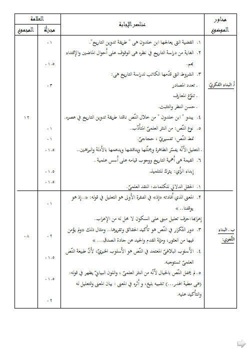 إختبار لغة عربية للفصل الأول 3 ثانوي شعب علمية 3 مع الحل Bandi475