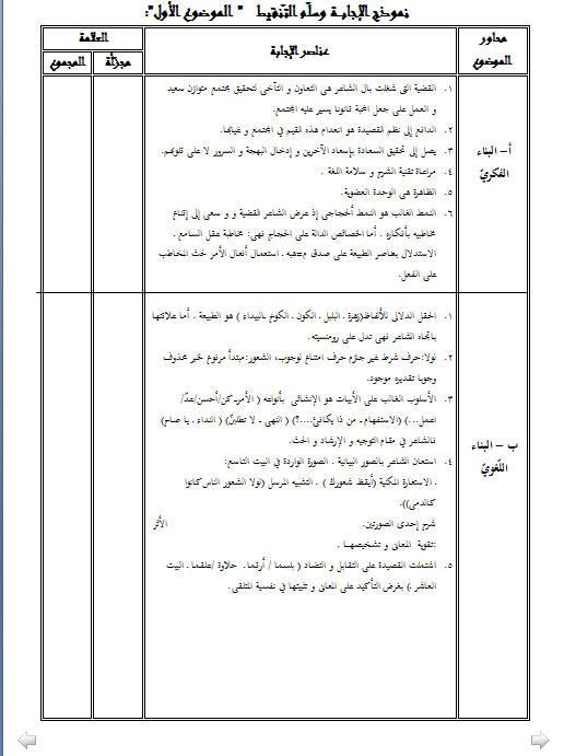 إختبار لغة عربية للثلاثي الثالث 3 ثانوي شعب علمية 1 مع الحل Bandi540