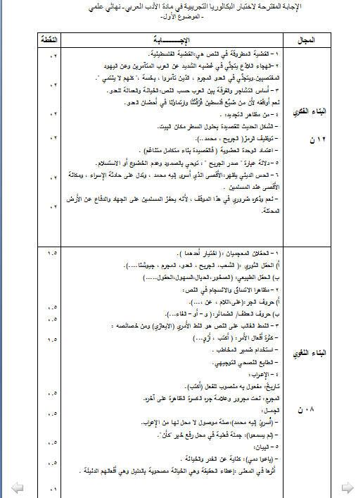 إختبار لغة عربية للثلاثي الثالث 3 ثانوي شعب علمية 2 مع الحل Bandi549