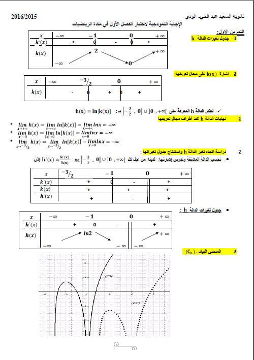 اختبار ثلاثي أول 2016 في الرياضيات علوم تجريبية 8 Bandic13