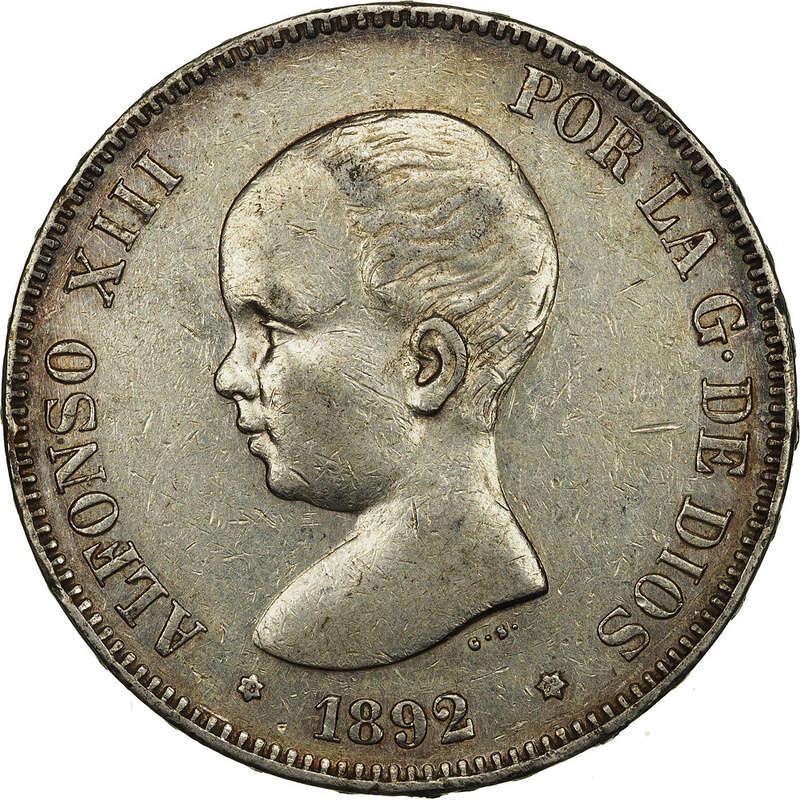 5 Pesetas 1892. Alfonso XIII. PGM 55492611