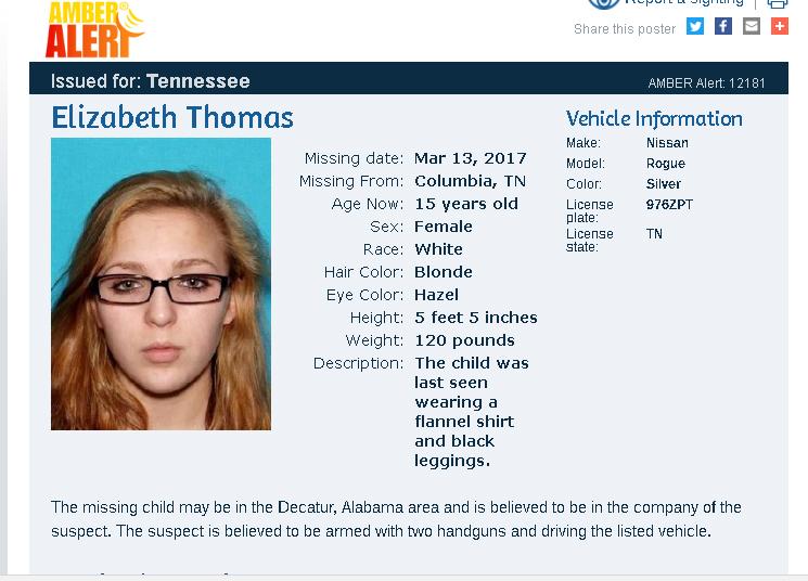 ELIZABETH THOMAS, 15, KIDNAPPED by TN TEACHER Elizab10