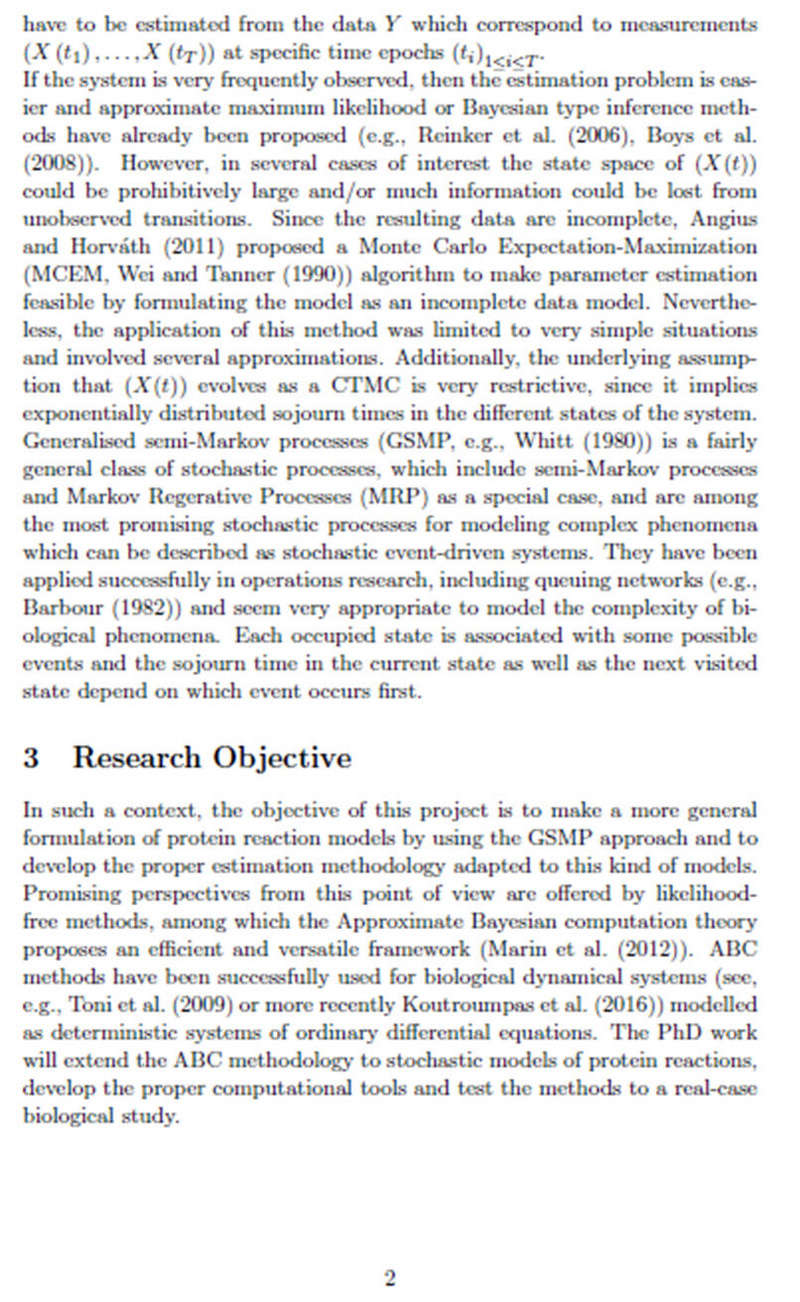 Διδακτορικό στη Γαλλία με υποτροφία και συνεργασία με Ελλάδα - Parameter Estimation for Stochastic models of Protein Reaction P210