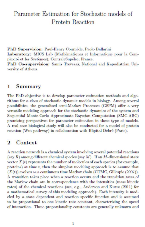 Διδακτορικό στη Γαλλία με υποτροφία και συνεργασία με Ελλάδα - Parameter Estimation for Stochastic models of Protein Reaction Page110