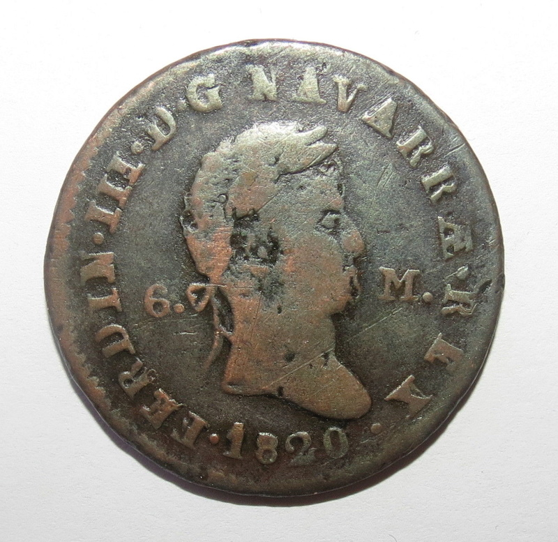 6 Maravedis 1820. Fernando VII. Pamplona S-l16012
