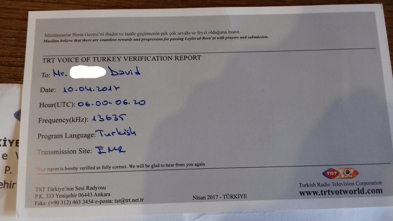 QSL voice of Turkey 20170534