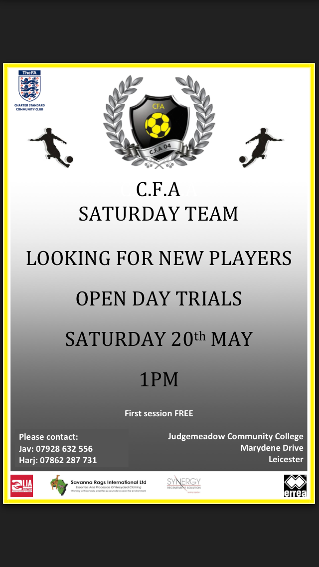 CFA LOOKING FOR NEW PLAYERS (OPEN DAY TRAINING SESSION) Poster10