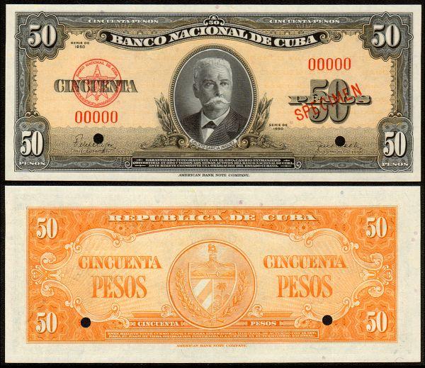 CUBA 3 PESOS 1995 MUESTRA 1950-s10