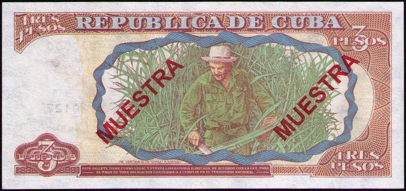 CUBA 3 PESOS 1995 MUESTRA Cuba_313