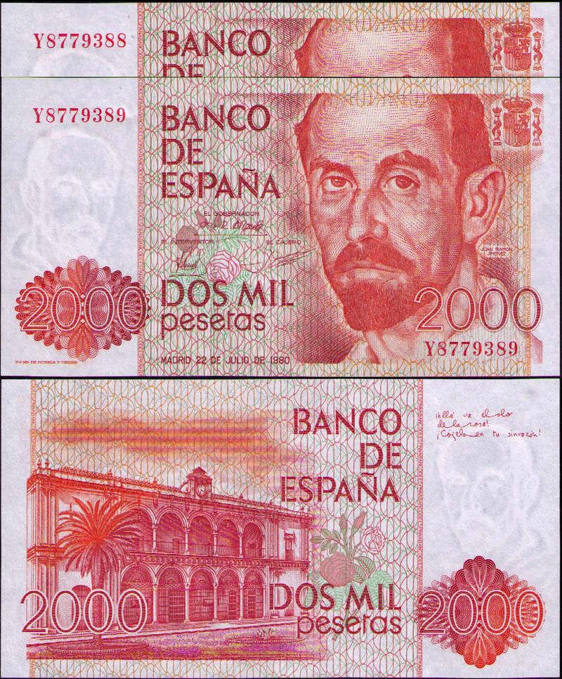 Variación tipográfica en el billete de 2000 pesetas de 1980 Espayi10