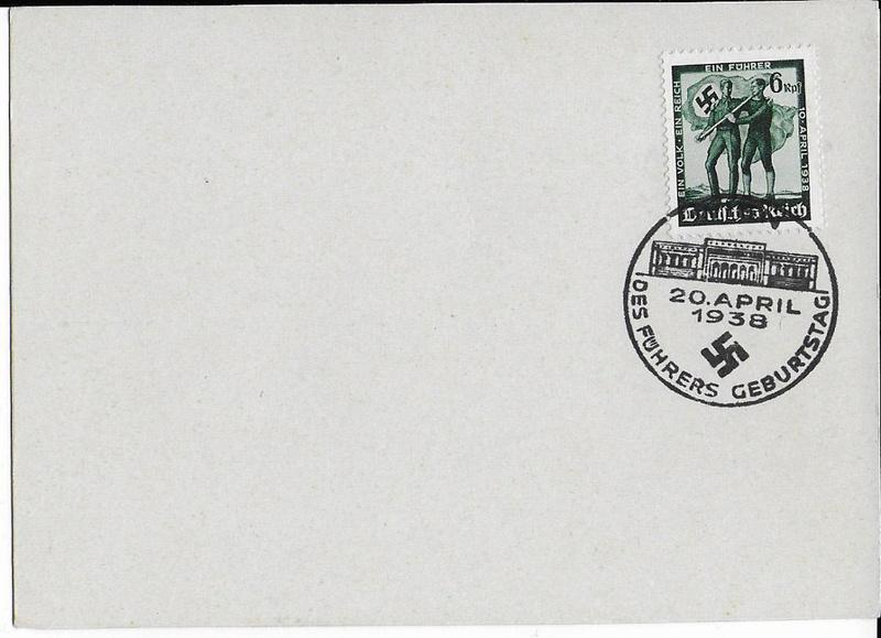 """Wert 6 Rpf Briefmarke Deutsches Reich 1938 mit """"Des Führers Geburtstag""""-Stempel Des_fy10"""