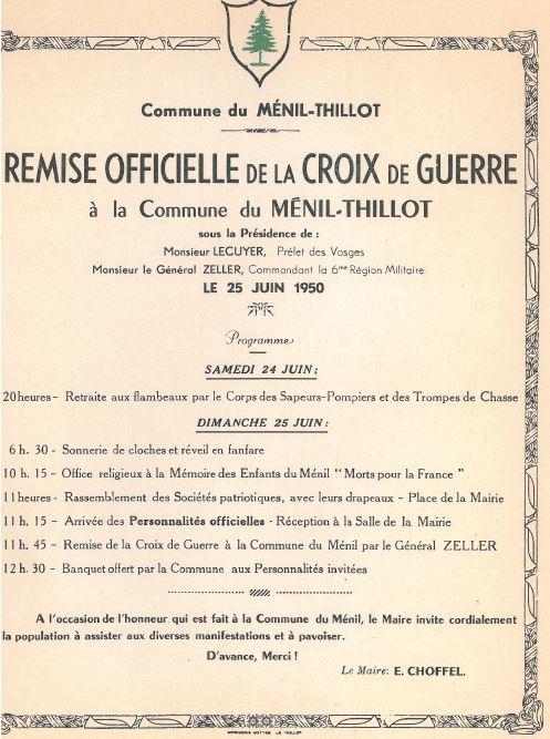 25 juin 1950 remise de la Croix de Guerre au MENIL-THILLOT Me0010