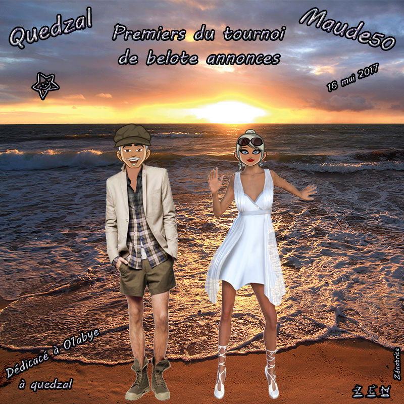 Quedzal et Maude50 Premiers tournoi de belote annonces du 16 mai 2017 Maude511