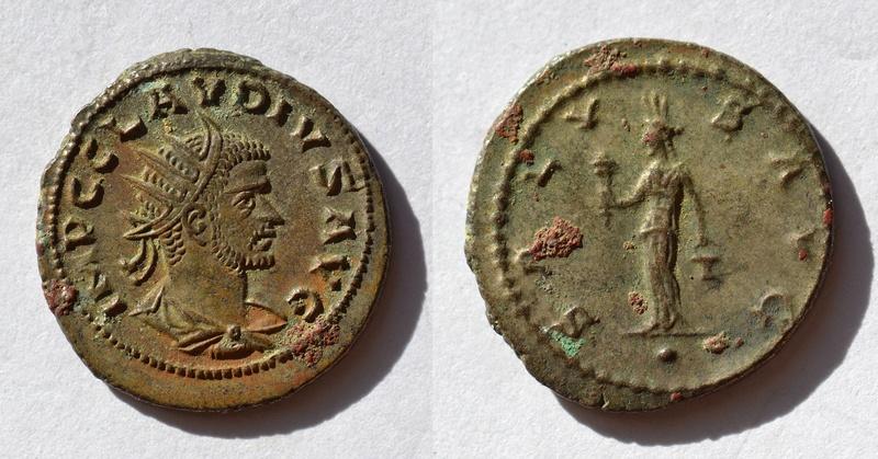 Antoniniano de Claudio II. SALVS AVG. Isis Faria estante de frente. Ceca Antioch. 94_cla10