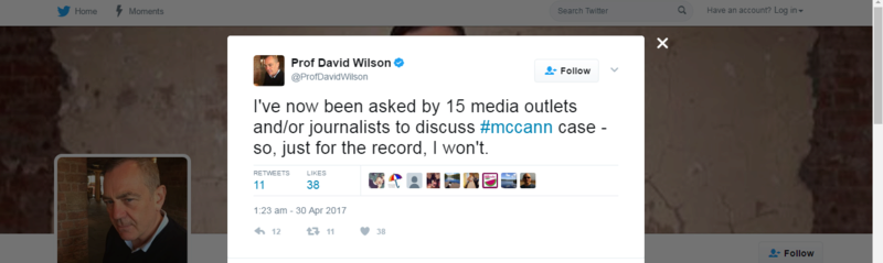 Prof David Wilson - Will Not Discuss McCann Case Rsz_1s10