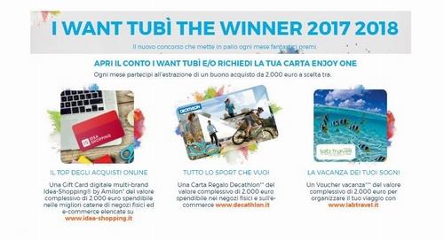 """CONCORSO A PREMI """"I WANT TUBI' THE WINNER 2017-2018"""" (UbiBanca) - in palio GIFT CARD da € 2.000 [concorso scaduto il 31/03/2018] Cattur18"""