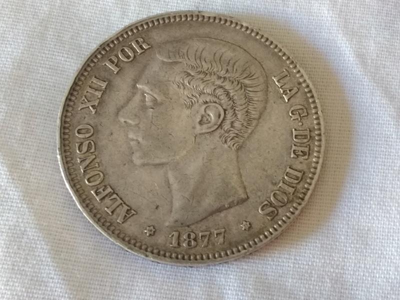 5 pesetas 1877  (*18 *77). Alfonso XII. D.E.M. 21742_11