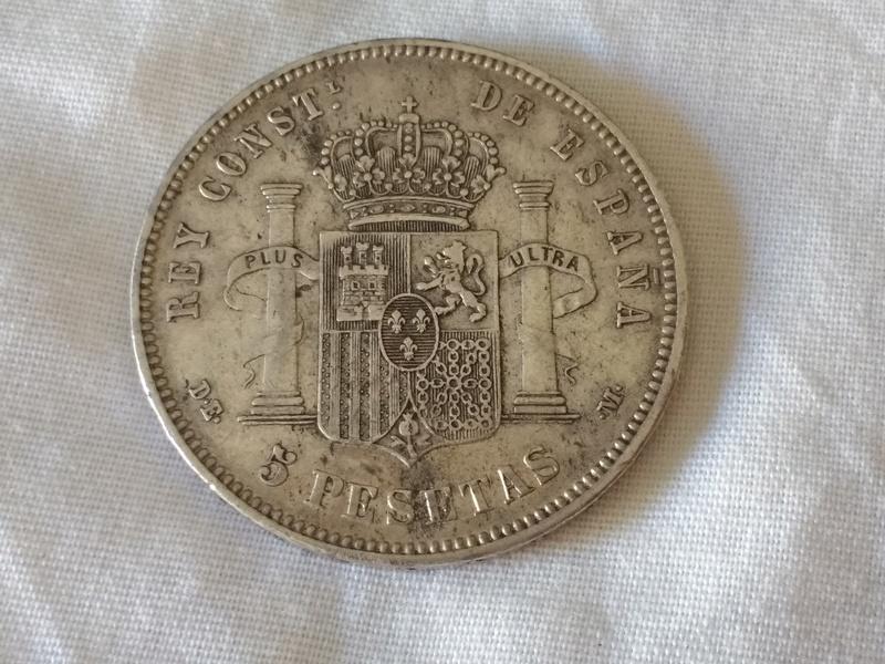 5 pesetas 1877  (*18 *77). Alfonso XII. D.E.M. 21742_12