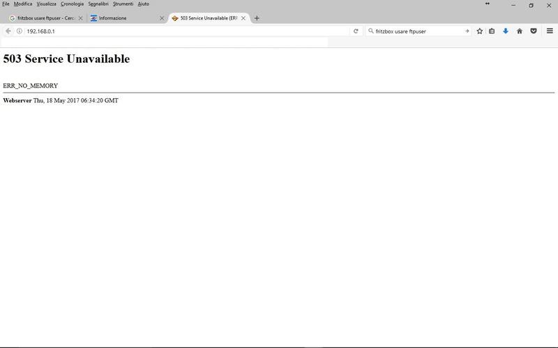 503 Service Unavailable (ERR_NO_MEMORY) Err_5010
