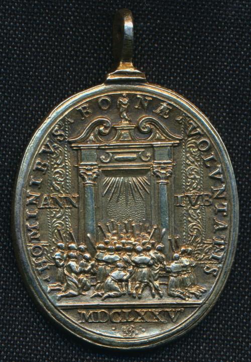 Medalla de Santos canonizados en 1671 / Puerta Santa -1675- Giovanni Hamerani (R.M. SXVII-O436) Giubil11
