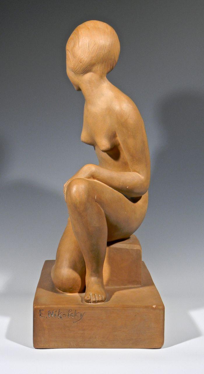 Large Terra cotta Art Deco Figural Sculpture, Signed Decosc10
