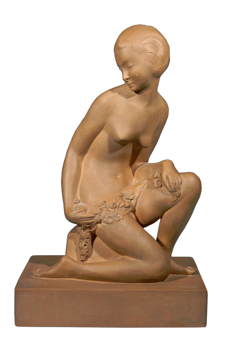 Large Terra cotta Art Deco Figural Sculpture, Signed Decosc11