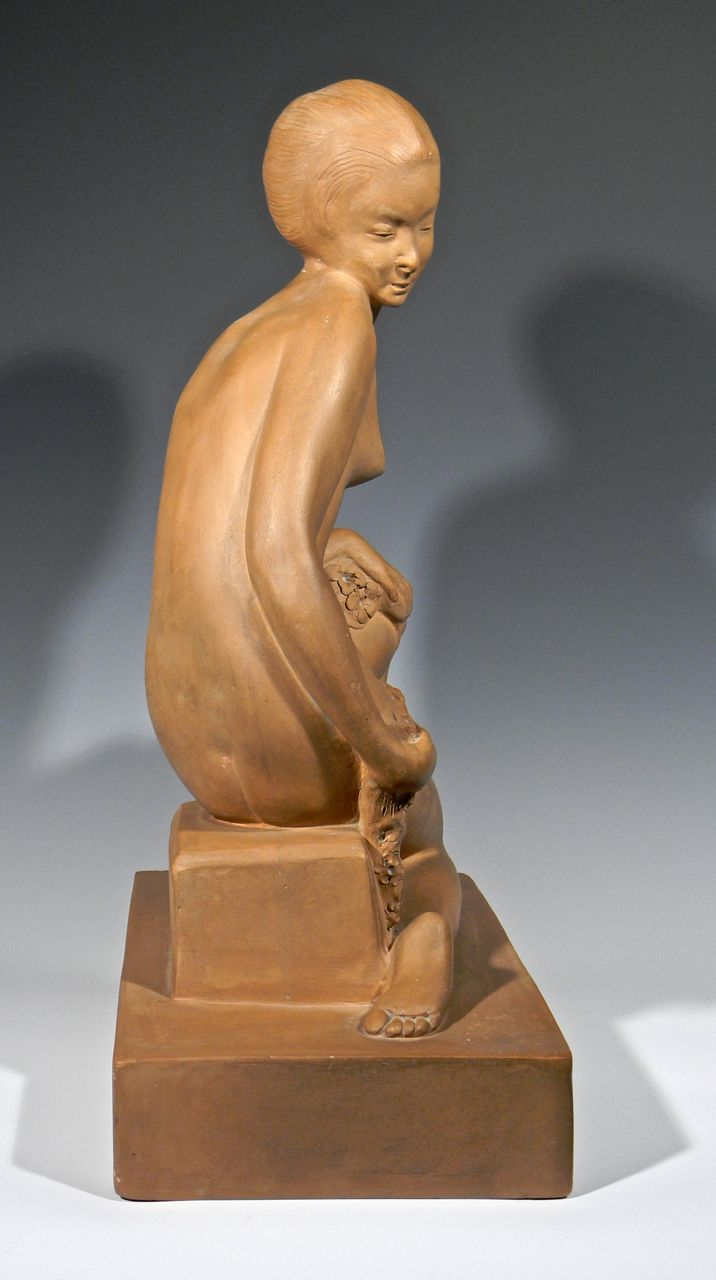Large Terra cotta Art Deco Figural Sculpture, Signed Decosc12
