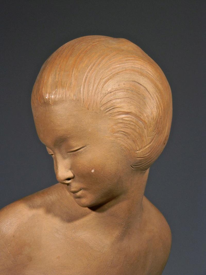 Large Terra cotta Art Deco Figural Sculpture, Signed Decosc13