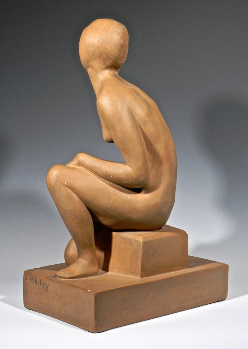 Large Terra cotta Art Deco Figural Sculpture, Signed Decosc14