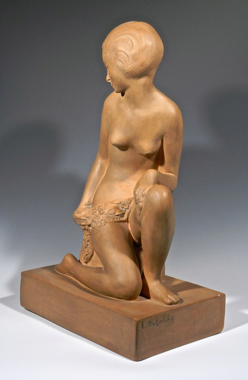 Large Terra cotta Art Deco Figural Sculpture, Signed Decosc16