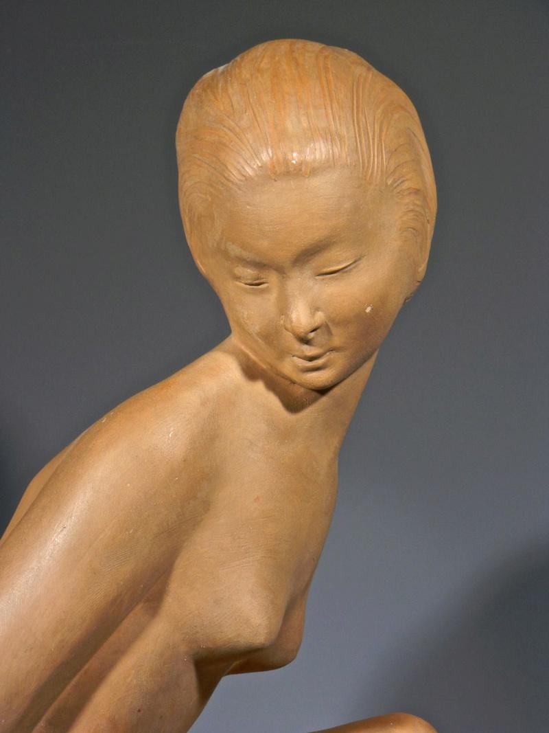 Large Terra cotta Art Deco Figural Sculpture, Signed Decosc17
