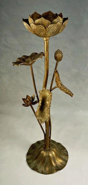 Pair of Large Gilt Metal Lotus Flower Lamp Bases? Lotus_19