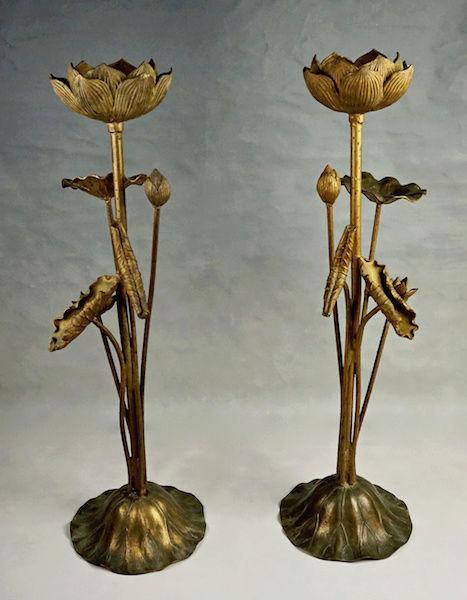 Pair of Large Gilt Metal Lotus Flower Lamp Bases? Lotus_20