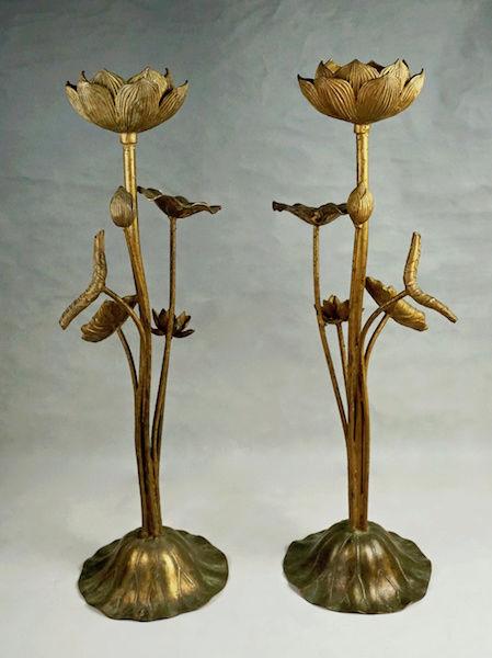 Pair of Large Gilt Metal Lotus Flower Lamp Bases? Lotus_21